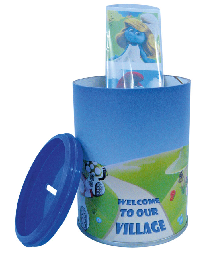 Smurfs money box and stickers